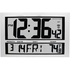 Commercial Grade Jumbo Atomic Wall Clock with 6 Time Zones, Indoor Temperature & Date - Batteries Included