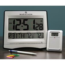 Atomic Wall Clock with 8 Timezones, Indoor/Outdoor Temperature & Date in Silver - Batteries Included