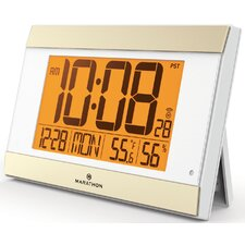 Atomic Digital Wall Clock With Auto-Night Light, Temperature & Humidity - Batteries Included