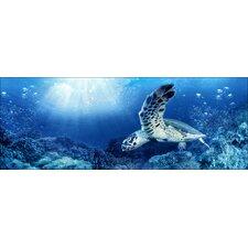 Glasbild Blue Sea I, Kunstdruck