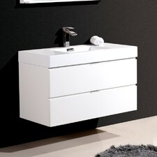 "Bliss 40"" Single Wall Mount Modern Bathroom Vanity Set"