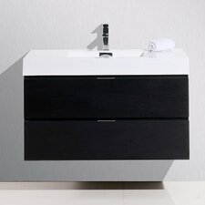 "Bliss 40"" Single Wall Mount Modern Bathroom Vanity Set"