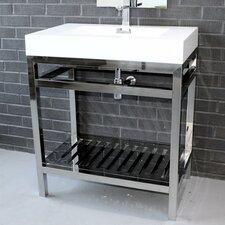 "Cisco 30"" Modern Stainless Steel Vanity Base"