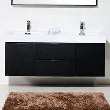 """Bliss 60"""" Double Wall Mount Modern Bathroom Vanity Set"""