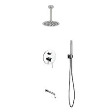 Aqua Rondo Diverter Tub and Shower Faucet with Metal Lever Handle