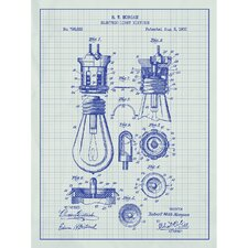 Energy and Power 'Electric Light Fixture' Silk Screen Print Graphic Art in White Grid/Blue Ink