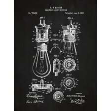 Energy and Power 'Electric Light Fixture' Silk Screen Print Graphic Art in Chalkboard/White Ink