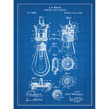 Energy and Power 'Electric Light Fixture' Silk Screen Print Graphic Art in Blue Grid/White Ink