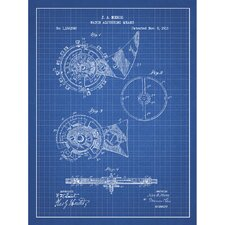 Vintage Inventions 'Watch Adjusting Means' Silk Screen Print Graphic Art in Blue Grid/White Ink