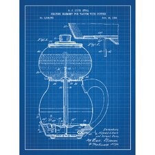 Vintage Inventions 'Heating Element of Vacuum Type Coffee' Silk Screen Print Graphic Art in Blue Grid/White Ink