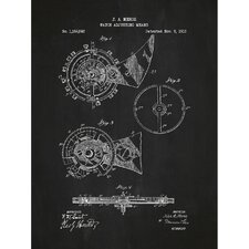 Vintage Inventions 'Watch Adjusting Means' Silk Screen Print Graphic Art in Chalkboard/White Ink