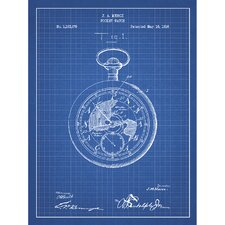 Vintage Inventions 'Pocket Watch' Silk Screen Print Graphic Art in Blue Grid/White Ink