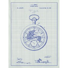 Vintage Inventions 'Pocket Watch' Silk Screen Print Graphic Art in White Grid/Blue Ink