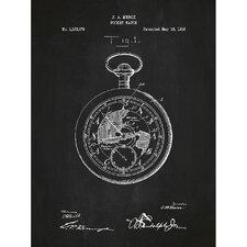 Vintage Inventions 'Pocket Watch' Silk Screen Print Graphic Art in Chalkboard/White Ink