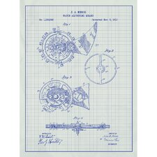 Vintage Inventions 'Watch Adjusting Means' Silk Screen Print Graphic Art in White Grid/Blue Ink
