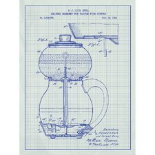 Vintage Inventions 'Heating Element of Vacuum Type Coffee' Silk Screen Print Graphic Art in White Grid/Blue Ink