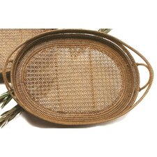 Rattan Large Oval Tray