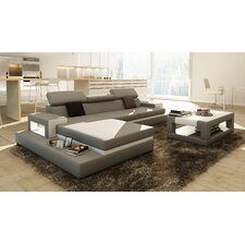 3 Piece Grey Leather Sectional with Matching Coffee Table