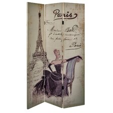 180cm x 120cm Paris Linen Double Sided Screen 3 Panel Room Divider