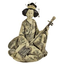 Shamisen Playing Geisha Statue