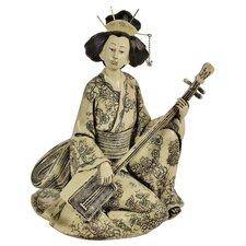 Statue Shamisen Playing Geisha