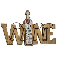 Keep Calm 4 Bottle Wall Mount Wine Rack