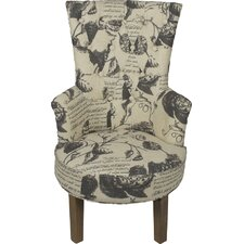Petite Linen in Printed Fabric Thistles Armchair
