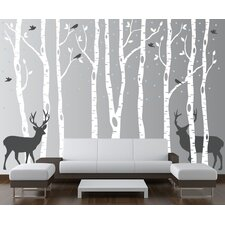 Birch Tree Forest with Snow Birds and Deer Vinyl Sticker Removable Wall Decal