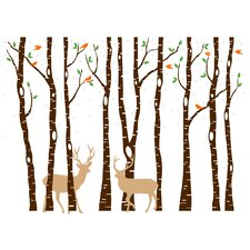 Birch Tree Forest with Snow Birds and Deer Wall Decal