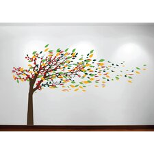 Wind Blowing Tree Cherry Blossom Nursery Wall Decal