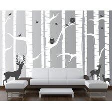 22 Piece Birch Tree Wall Decal Set
