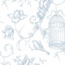 "Grand Chateau 32.7' x 20.5"" Birdcage Floral Wallpaper"