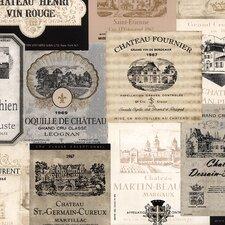 "Kitchen Elements 32.7' x 20.5"" Wine Labels Wallpaper"