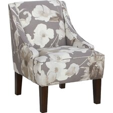 Hedding Cotton Upholstered Arm Chair in Grey & White