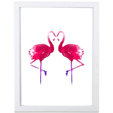 Flamingo Lovers Watercolor Framed Graphic Art