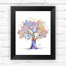 Tree Nature Love Contemporary Watercolor Framed Graphic Art