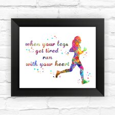 Runner Man and Woman Contemporary Watercolor Framed Graphic Art