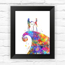 Jack Skellington and Sally the Nightmare before Christmas Contemporary Watercolor Framed Graphic Art