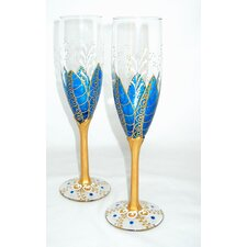 Moon Flower 2 Piece 6 oz. Flutes Glass Set