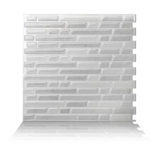 "9.84"" x 9.3"" Peel and Stick Wall Tile in Metal White"