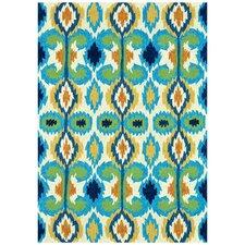Hand-Woven Ivory/Blue Indoor/Outdoor Area Rug