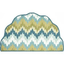 Hand-Hooked Blue/Green Area Rug