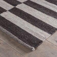 Hand-Woven Stripe Raw Wool Area Rug