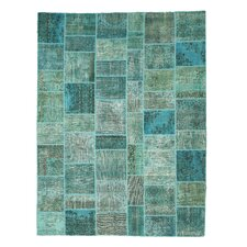 Narkatiaganj Hand-Knotted Green Area Rug