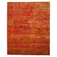 Hand Knotted Red Area Rug