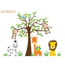 Nursery Jungle, Tree, Giraffe and Safari Wall Decal