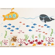 Submarine, Ocean, Whale, Fish and Crab Under the Sea Wall Decal