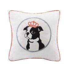 Braxton Dog Appliqued Cotton Throw Pillow