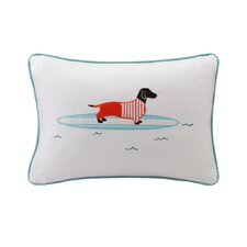 Oscar Surfboard Dog Appliqued Cotton Lumbar Pillow