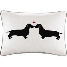 L'amour Kissing Dog Appliqued Cotton Lumbar Pillow